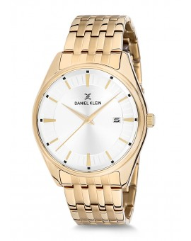 Montre Daniel Klein Homme bracelet acier doré fond argent