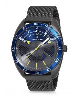 Montre Daniel Klein Homme bracelet milanais noir fond argent