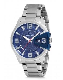 Montre Daniel Klein Homme bracelet acier argenté fond bleu
