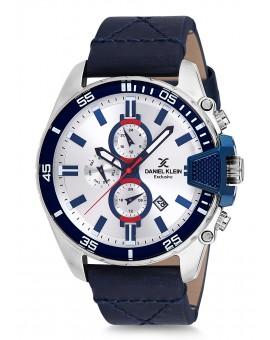 Montre Daniel Klein Homme bracelet cuir bleu fond argent