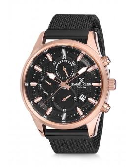 Montre Daniel Klein Homme Exclusive bracelet milanais noir fond noir