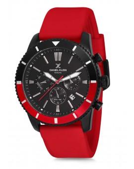 Montre Daniel Klein Homme Exclusive bracelet cuir rouge fond noir