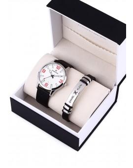 Montre Coffret Daniel Klein Homme bracelet cuir noir fond argent