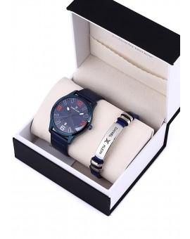 Montre Coffret Daniel Klein Homme bracelet cuir bleu fond bleu