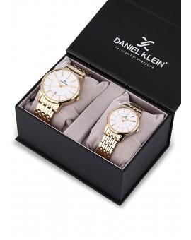Montre Coffret Daniel Klein Homme et Femme bracelet acier doré fond argent