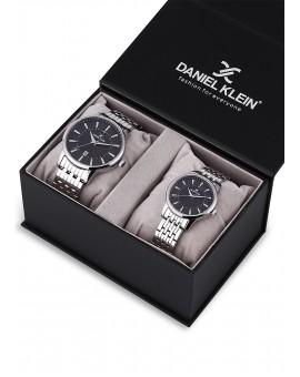 Montre Coffret Daniel Klein Homme et Femme bracelet acier argenté fond noir