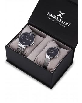 Montre Coffret Daniel Klein Homme et Femme bracelet milanais argenté fond noir