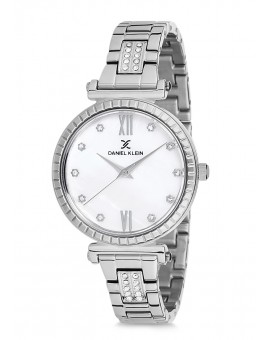 Montre Daniel Klein Femme bracelet acier argenté fond blanc
