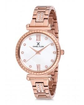 Montre Daniel Klein Femme bracelet acier rose fond blanc