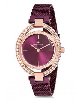 Montre Daniel Klein Femme bracelet milanais  fond prune