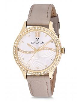 Montre Daniel Klein Femme bracelet cuir kaki fond argent