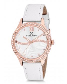 Montre Daniel Klein Femme bracelet cuir blanc fond argent