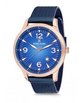 Montre Daniel Klein Homme bracelet milanais bleu fond bleu