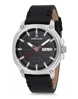 Montre Daniel Klein Homme bracelet cuir noir fond noir