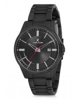 Montre Daniel Klein Homme bracelet acier noir fond blanc