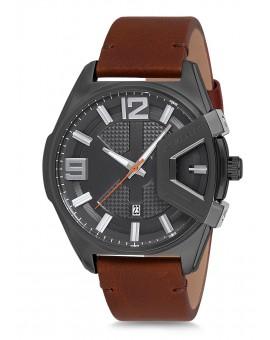 Montre Daniel Klein Homme bracelet cuir marron fond argent
