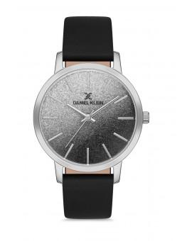 Daniel Klein Femme bracelet cuir noir fond gris