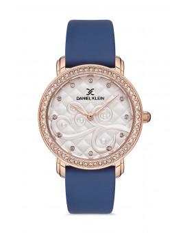 Daniel Klein Femme bracelet cuir bleu fond bleu