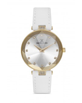 Daniel Klein Femme bracelet cuir blanc fond blanc