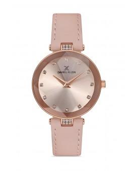 Daniel Klein Femme bracelet cuir rose fond rose