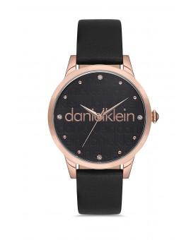 Daniel Klein Femme bracelet cuir noir fond noir