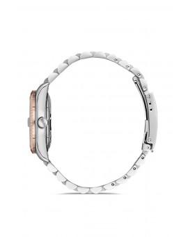 Montre femme bracelet bicolore rose dateur