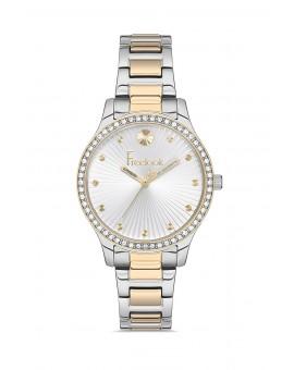 Montre femme bracelet métal bicolore