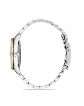 Montre femme bracelet métal bicolore dateur