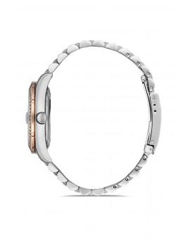 Montre femme bracelet métal bicolore rose dateur