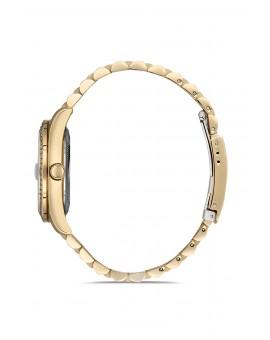 Montre femme bracelet métal doré dateur