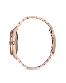 Montre femme bracelet métal rose dateur