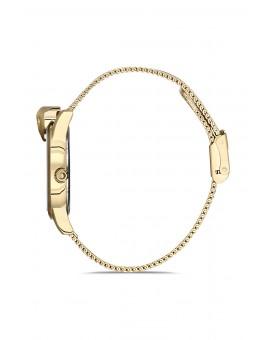 Montre femme bracelet milanais panthère doré