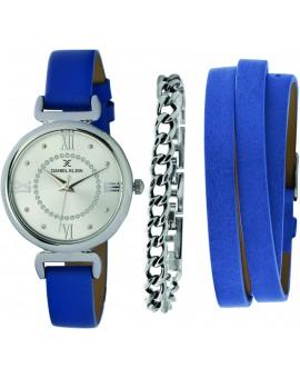 Coffret de montre femme Daniel Klein avec 1 bracelet en acier et 1 bracelet en cuir facilement réglable, garantie 2 ans.