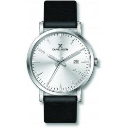 Montre plate pour homme avec dateur Daniel Klein diamètre 4 cm, garantie 2 ans.Modèle en bracelet cuir véritable.