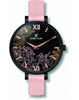 Montre avec design fleuri pour femme Daniel Klein avec un bracelet cuir diamètre cadran 3,2 cm, garantie 2 ans.