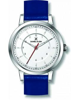 Montre plate pour femme Daniel Klein avec un bracelet cuir diamètre 3,2 cm, garantie 2 ans.