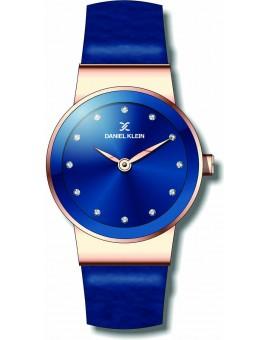 Montre chic pour femme Daniel Klein avec un bracelet cuir diamètre 2,6 cm, garantie 2 ans.