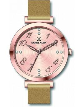 Montre cadran chiffré pour femme Daniel Klein avec un bracelet cuir diamètre 3,2 cm, garantie 2 ans.