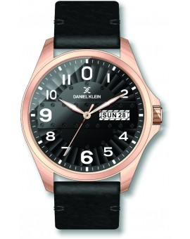 Montre pour homme avec jour et date de la marque Daniel Klein diamètre 4 cm, garantie 2 ans.Modèle en bracelet cuir véritable.
