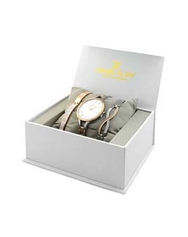 Coffret de montre femme Daniel Klein avec avec 2 bracelet en acier facilement réglable diamètre 3,2 cm, garantie 2 ans.